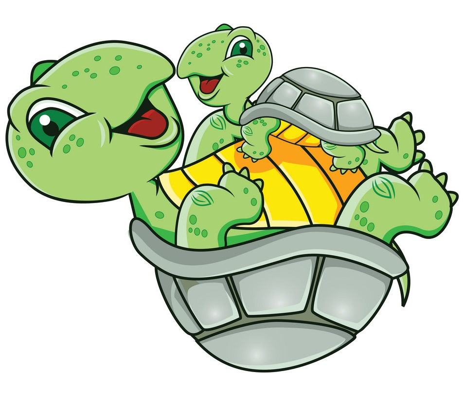 cartoon mother and baby turtle