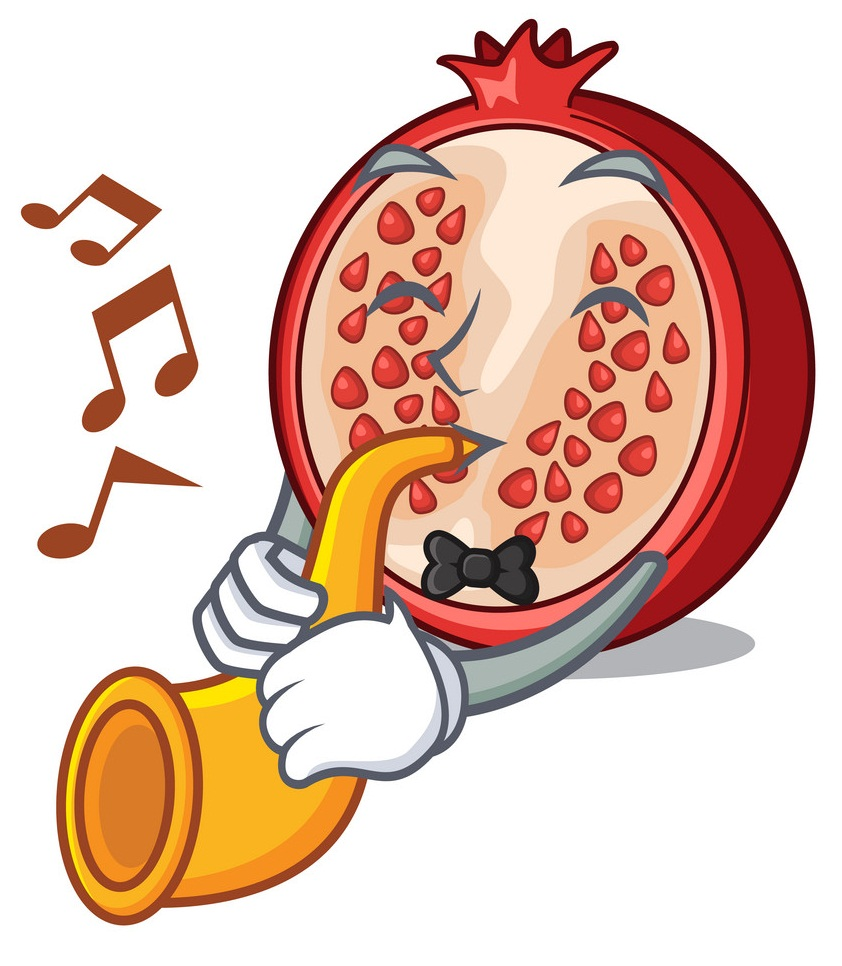 cartoon pommegranate playing trumpet