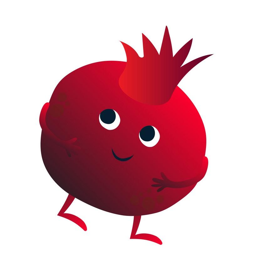 cartoon pommegranate
