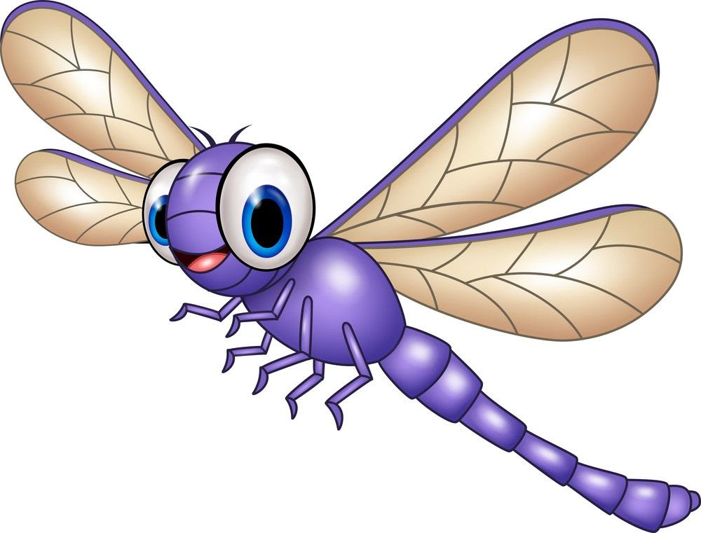 cartoon purple dragonfly