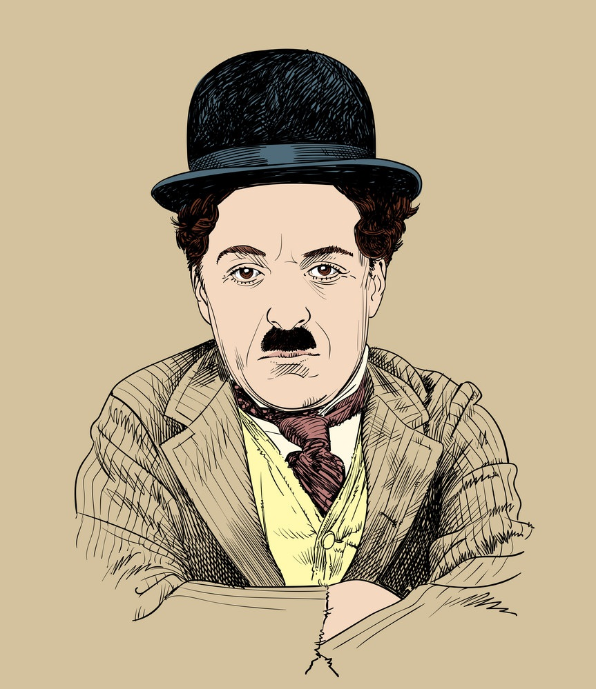 charlie chaplin on brown background
