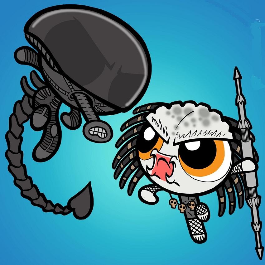 chibi alien fighting with predator