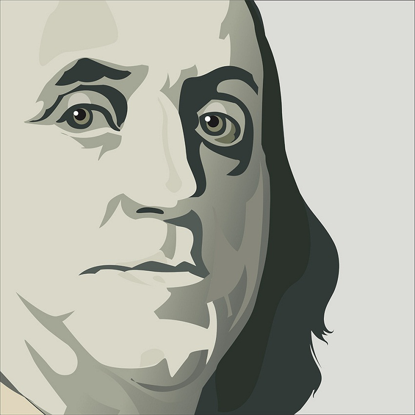 close up view of ben franklin