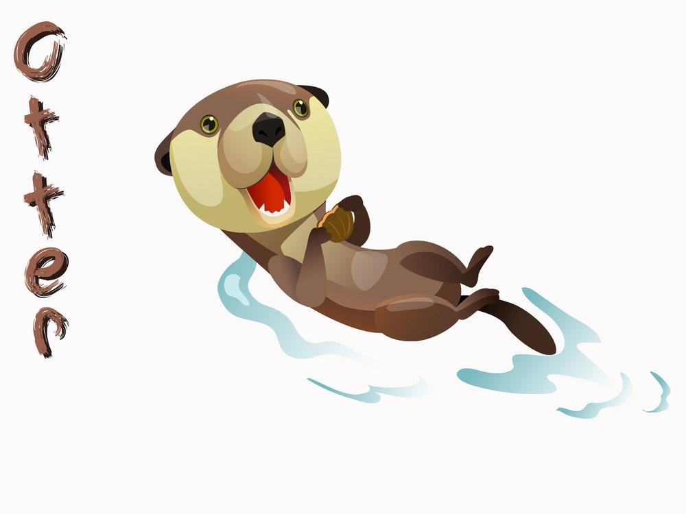 cute otter swimming