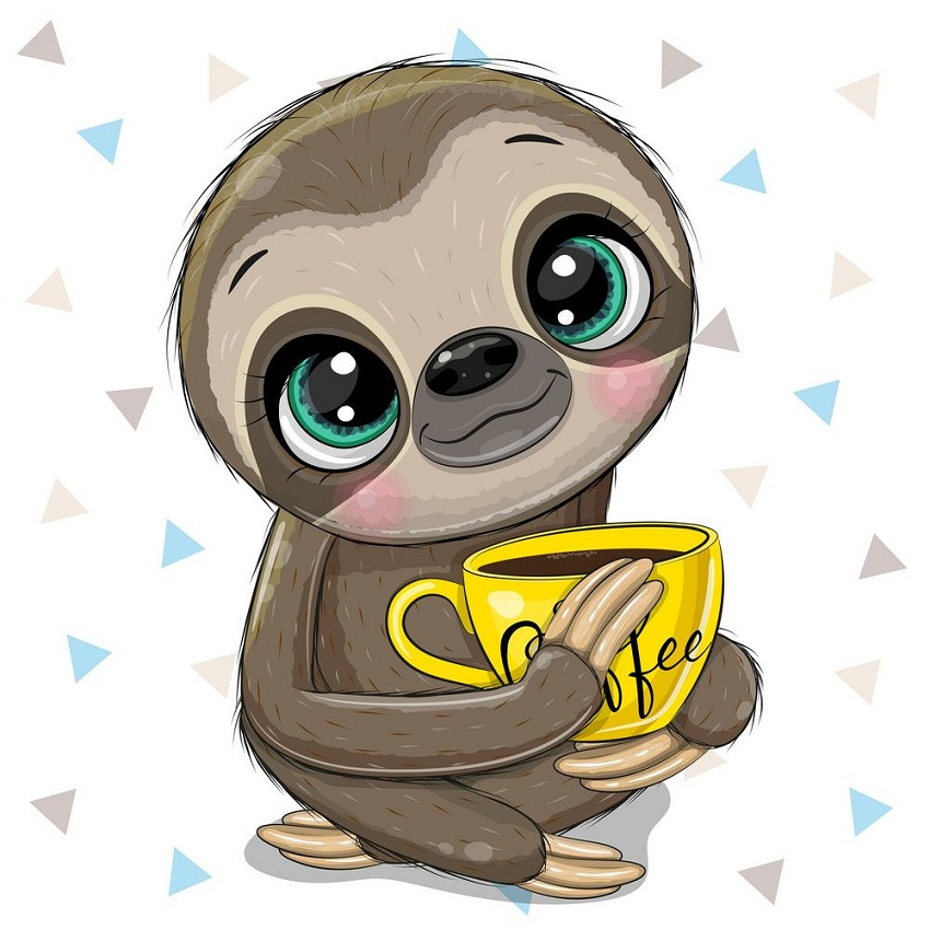 cute sloth with a cup of coffee