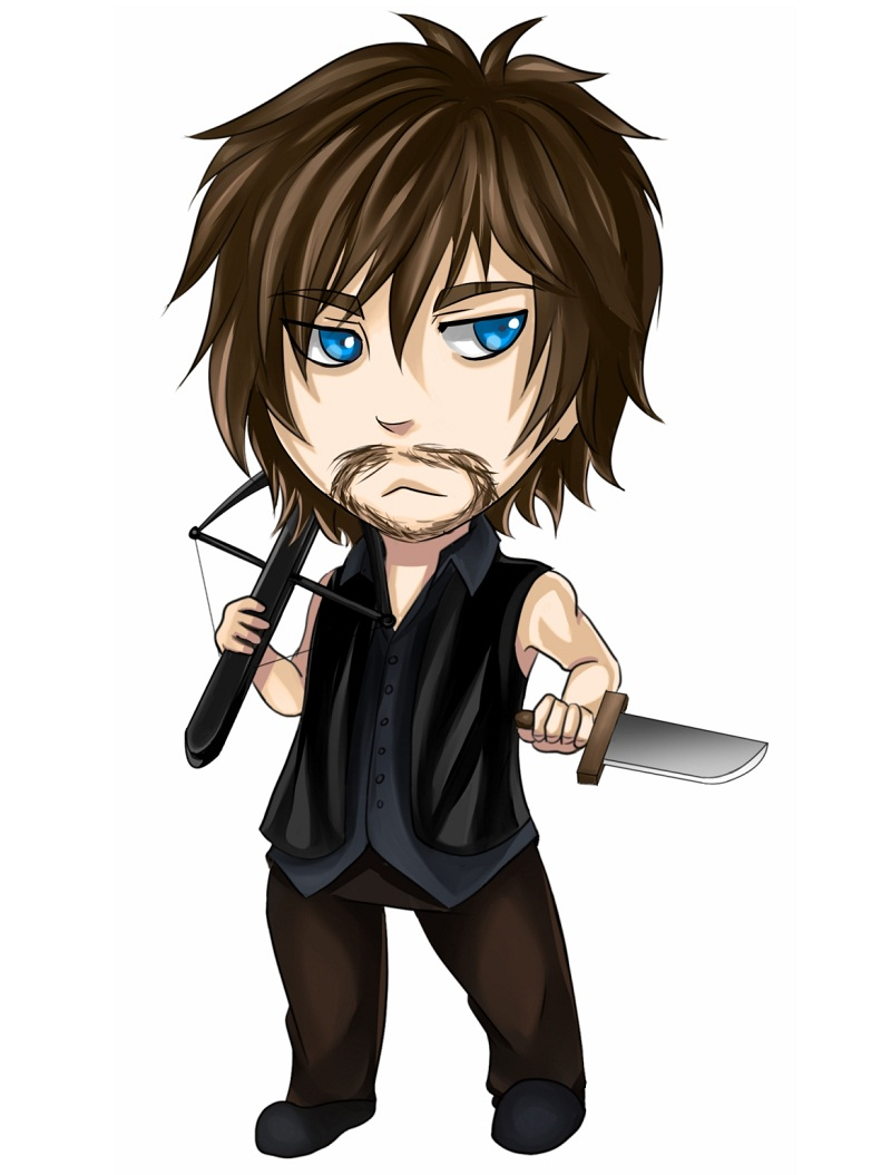 daryl with knife and crossbow
