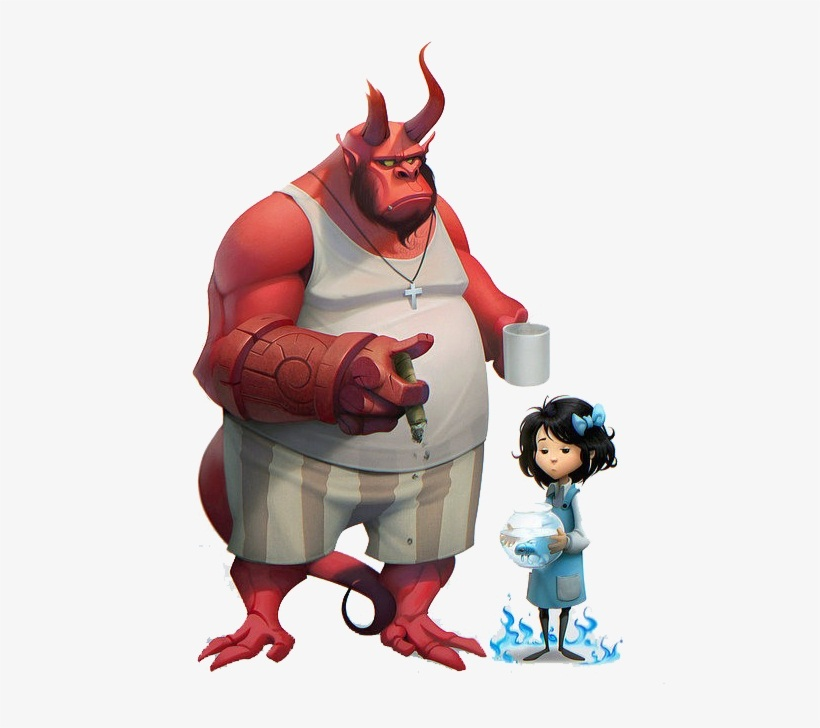 fat hellboy and little liz