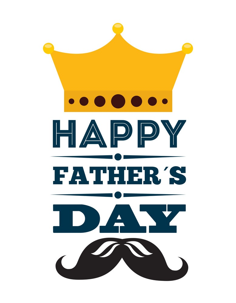 father's day with mustache and crown