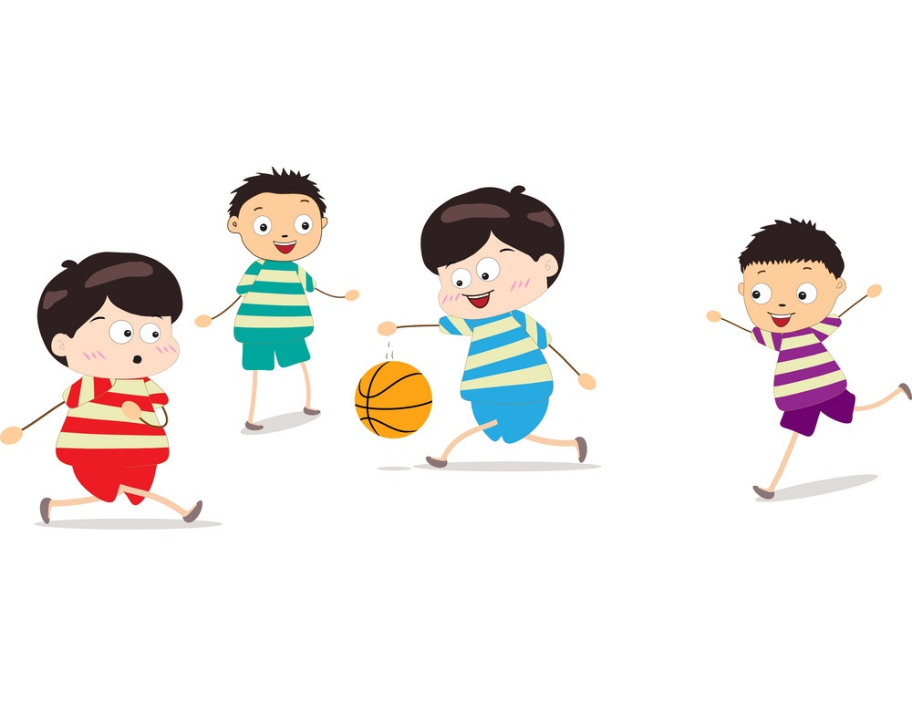 four kids playing basketball
