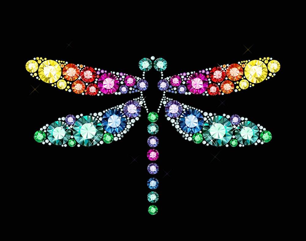 gem dragonfly on black background