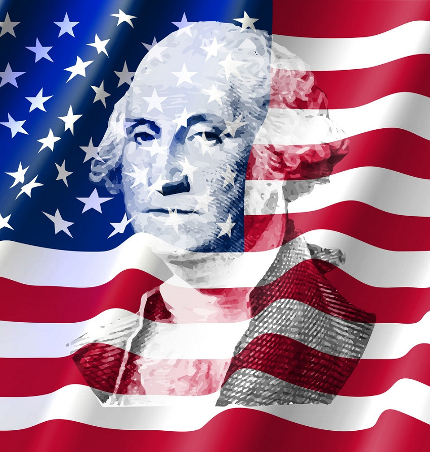 george washington on u.s flag