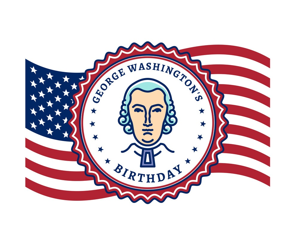george washingtons birthday waving flag