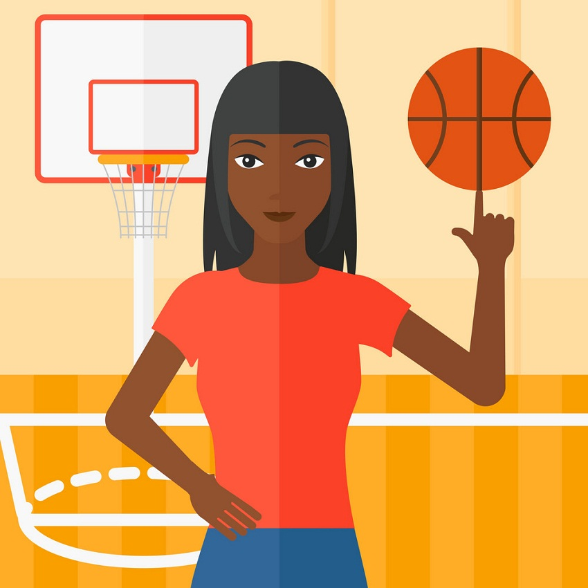 girl basketball player spinning ball
