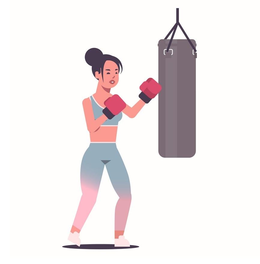 girl boxer punching bag