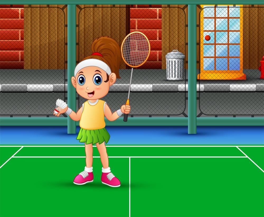 girl playing badminton at court