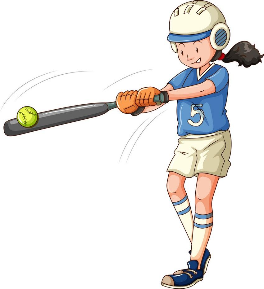 girl playing softball