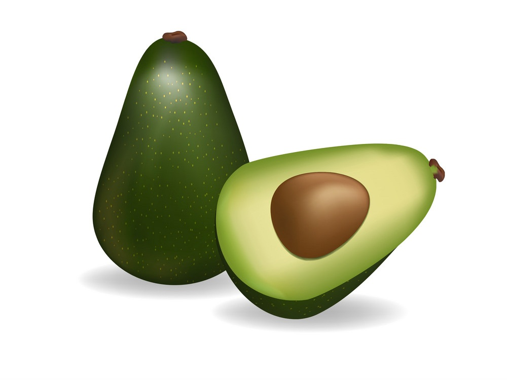 half and whole avocado