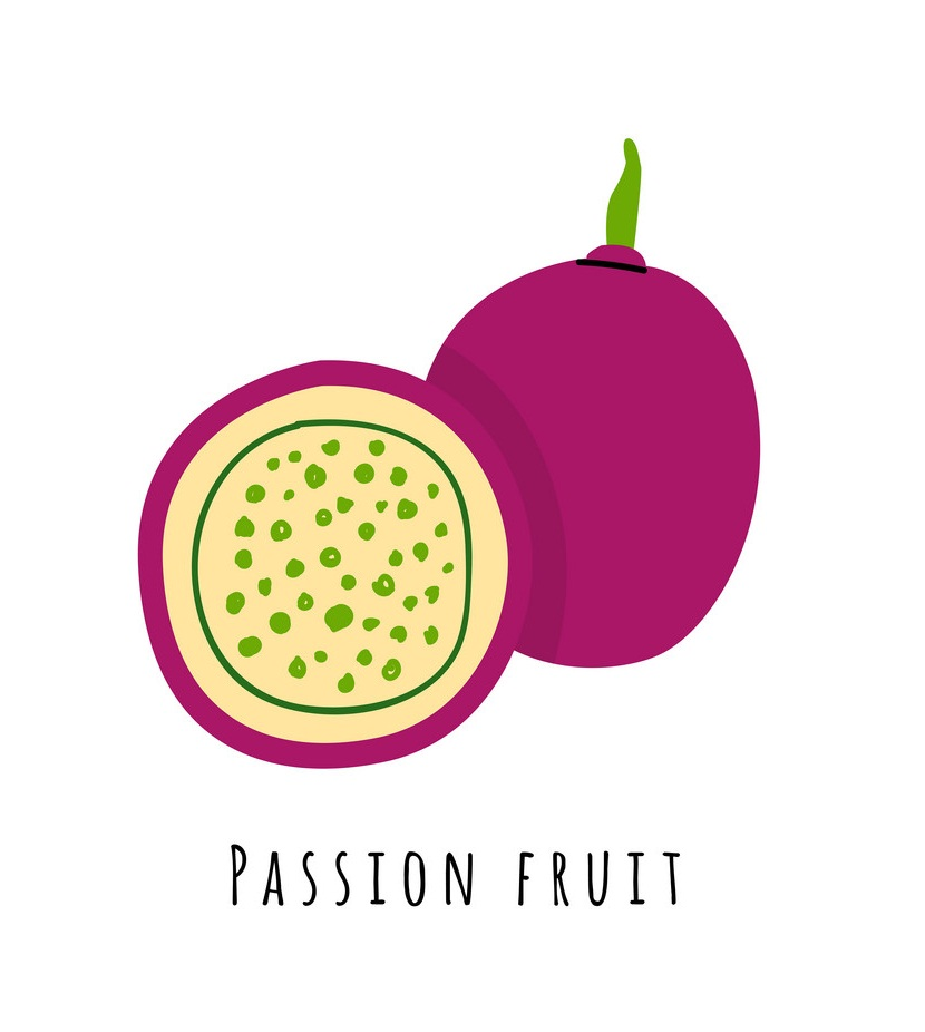 half and whole passion fruit
