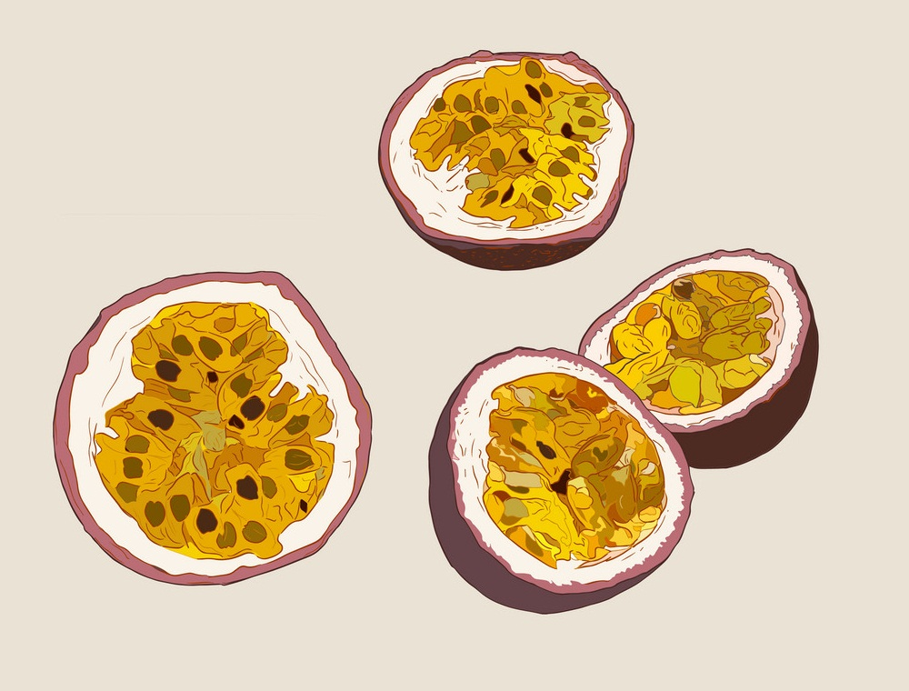 halves of passion fruits