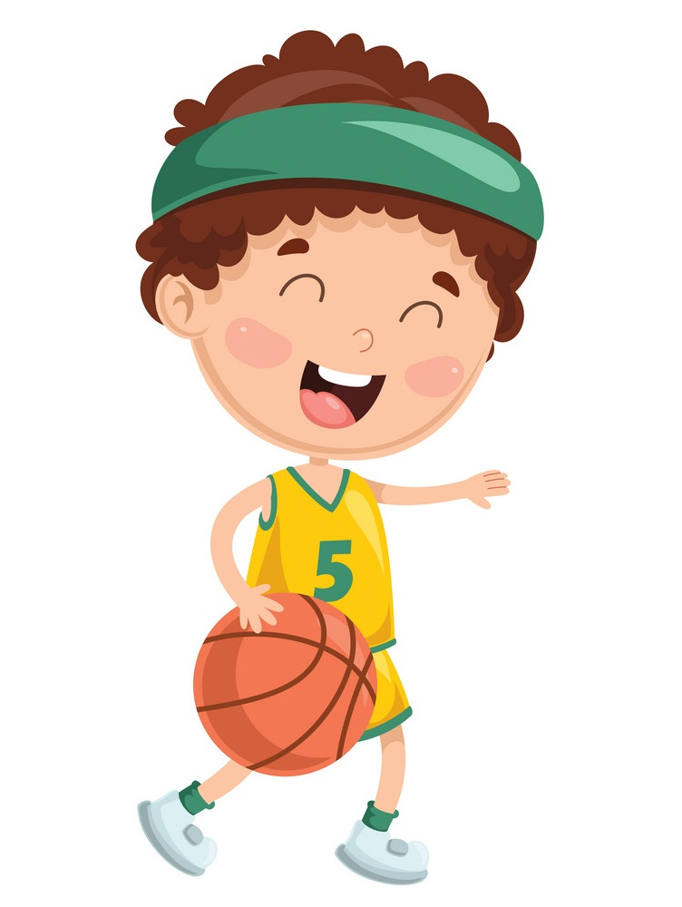 happy boy playing basketball