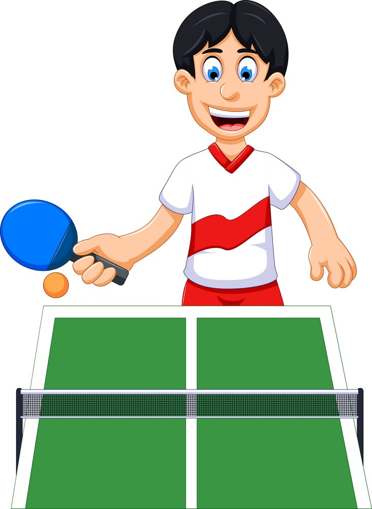 happy boy playing table tennis
