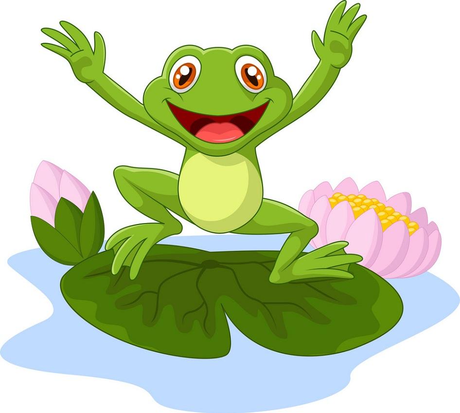 happy cartoon frog