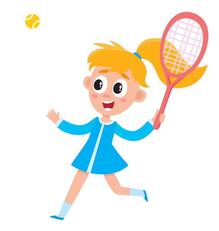 happy girl playing badminton