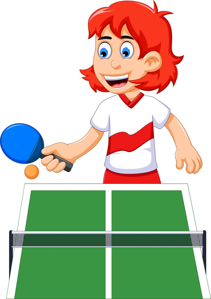 happy girl playing table tennis
