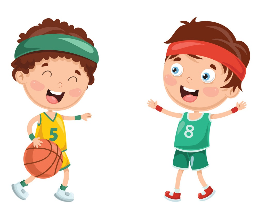 happy kids playing basketball
