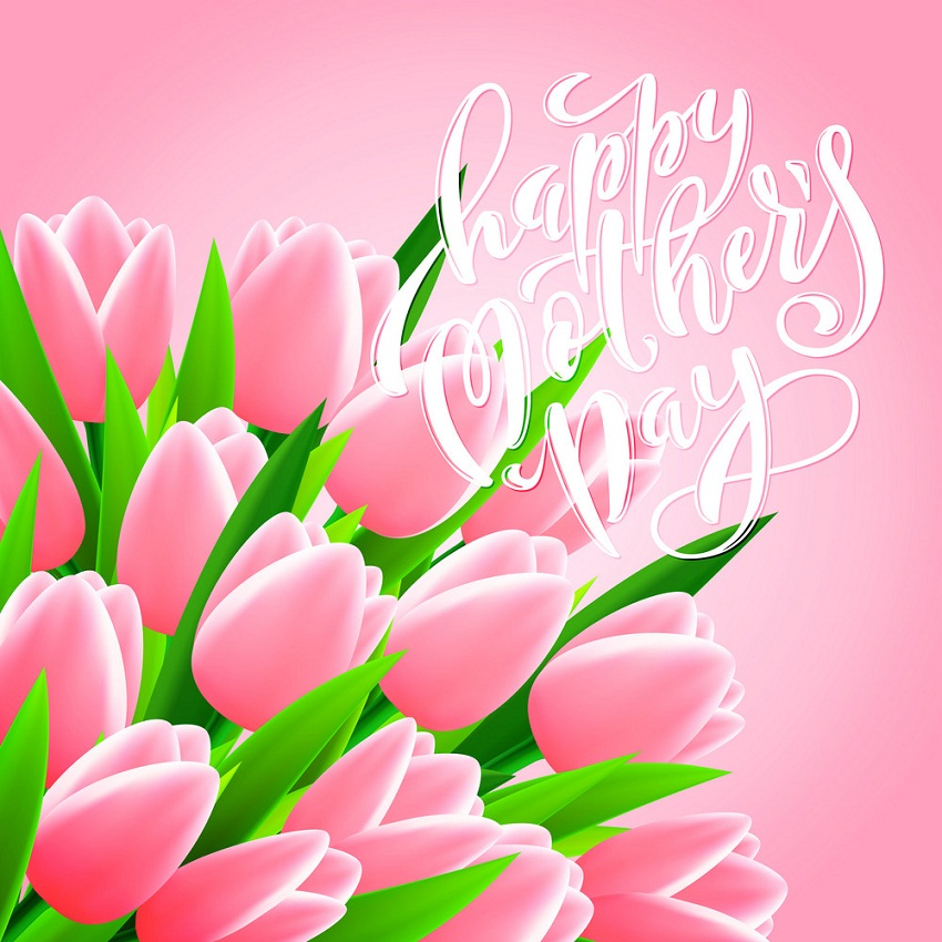 happy mothers day with tulips