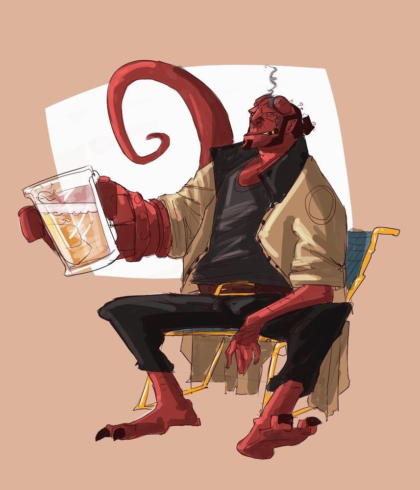 hellboy drinking beer