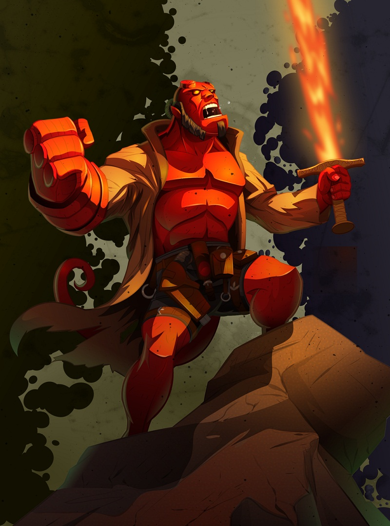 hellboy with fire sword