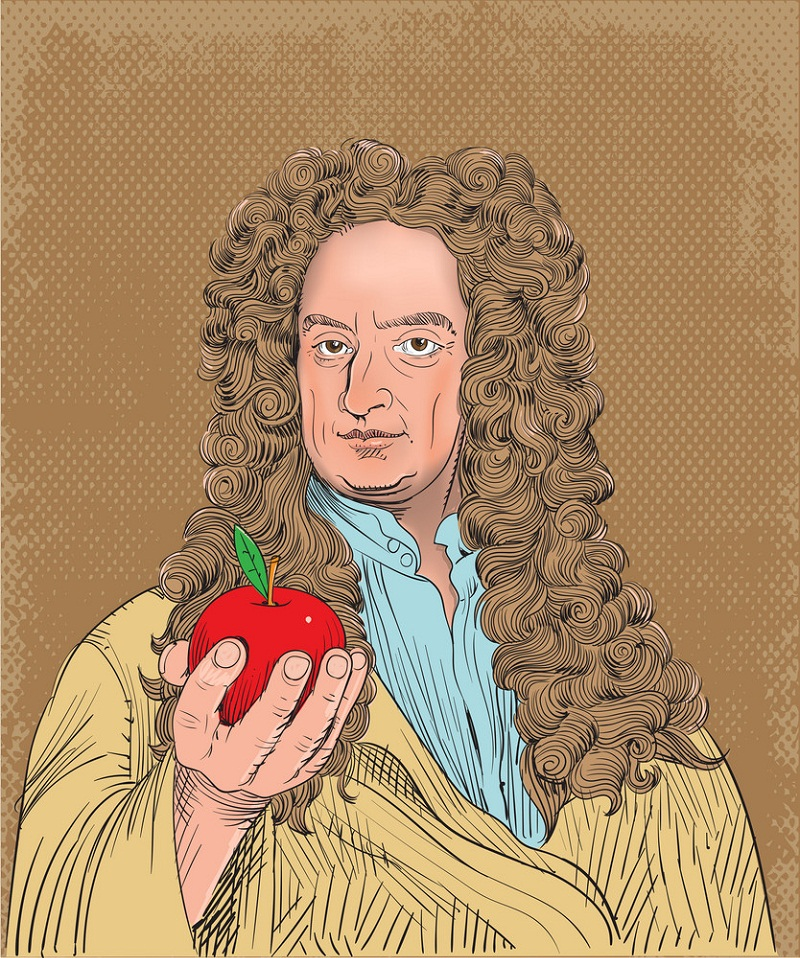 isaac newton holding apple