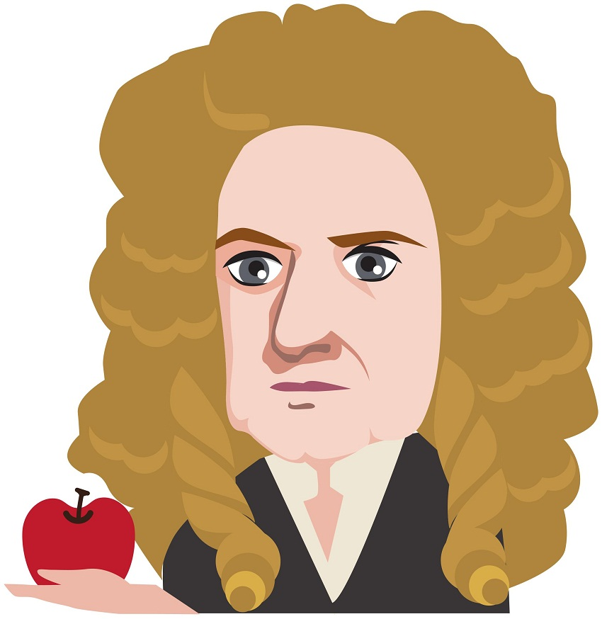 isaac newton looking apple