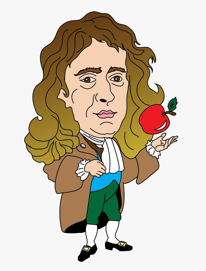 isaac newton with red apple