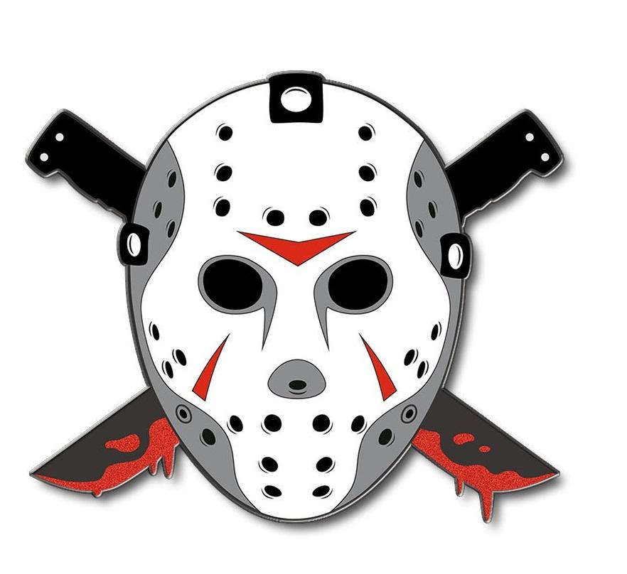 jason mask with cross bloody machetes