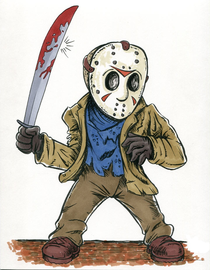 jason with his bloody machete