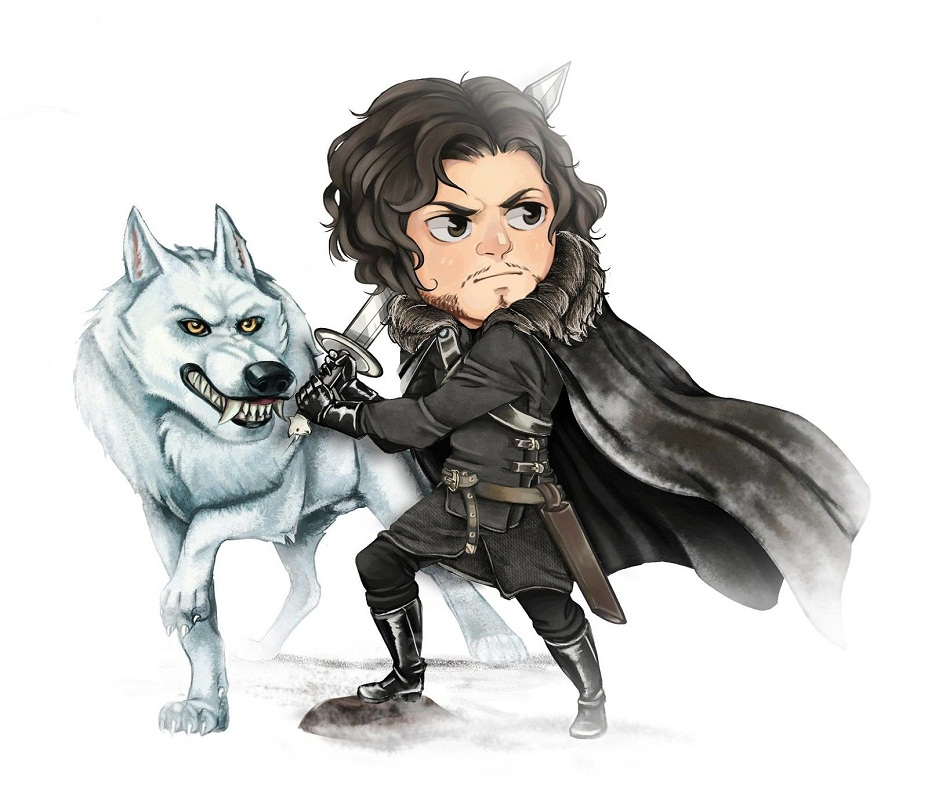 jon snow with wolf