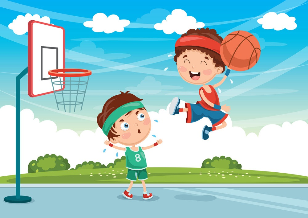kids practicing basketball