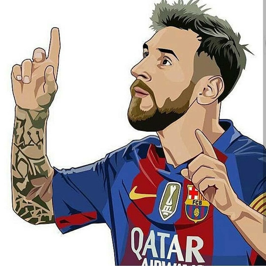 lionel messi pointing fingers up