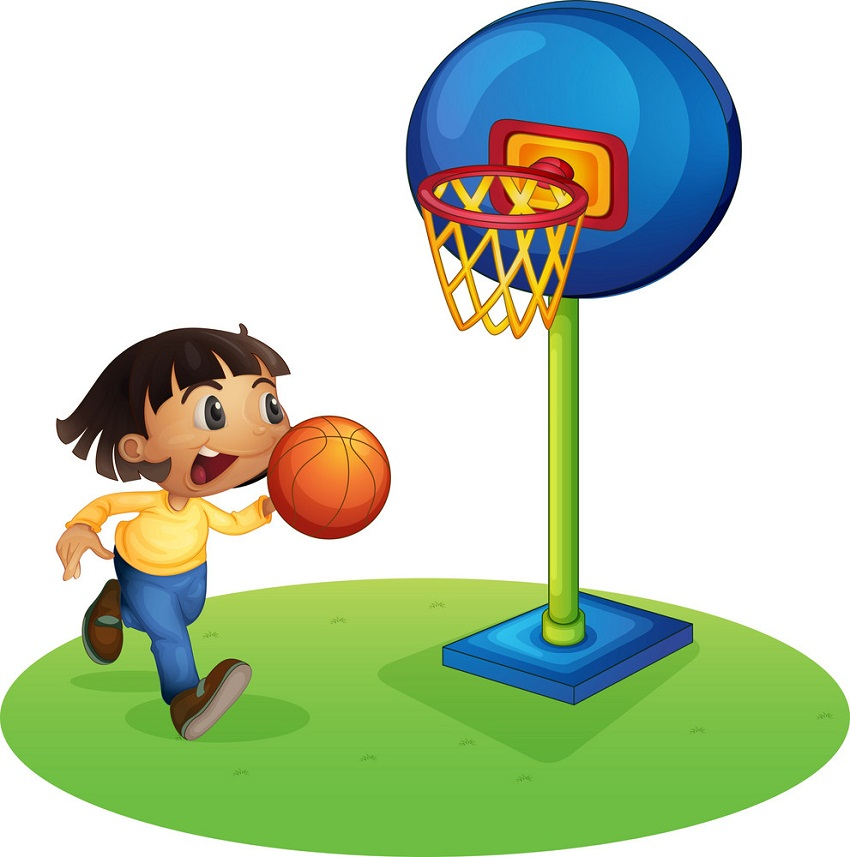 little kid playing basketball