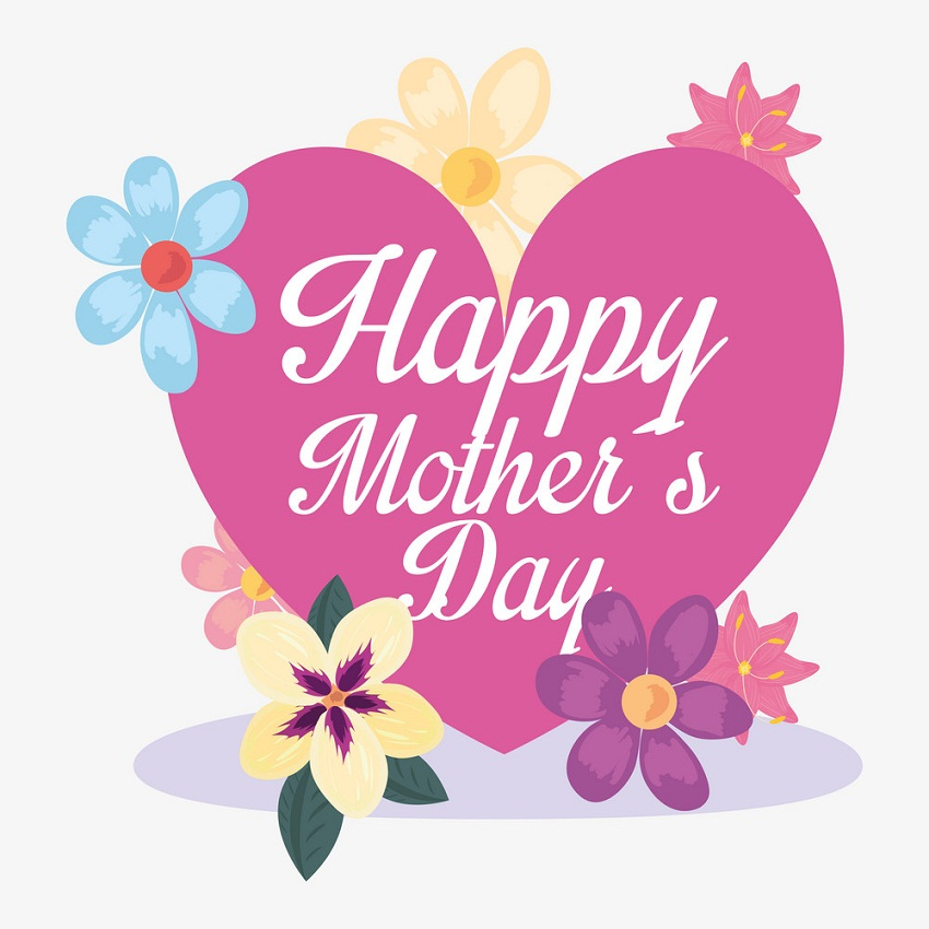 mother's day with heart and flowers