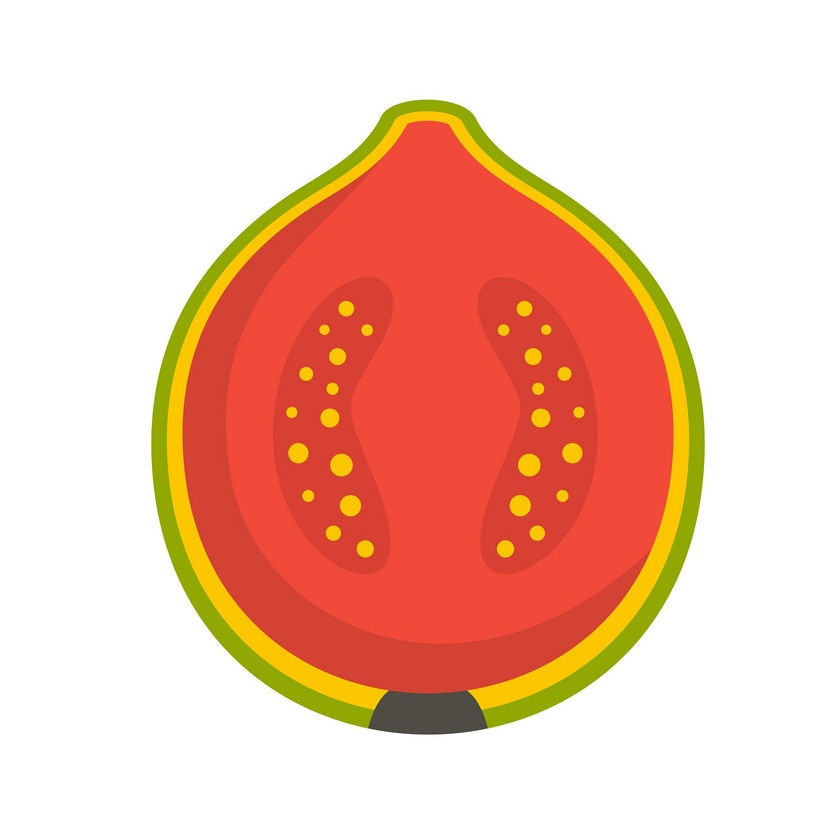 pink guava fruit cut in half icon
