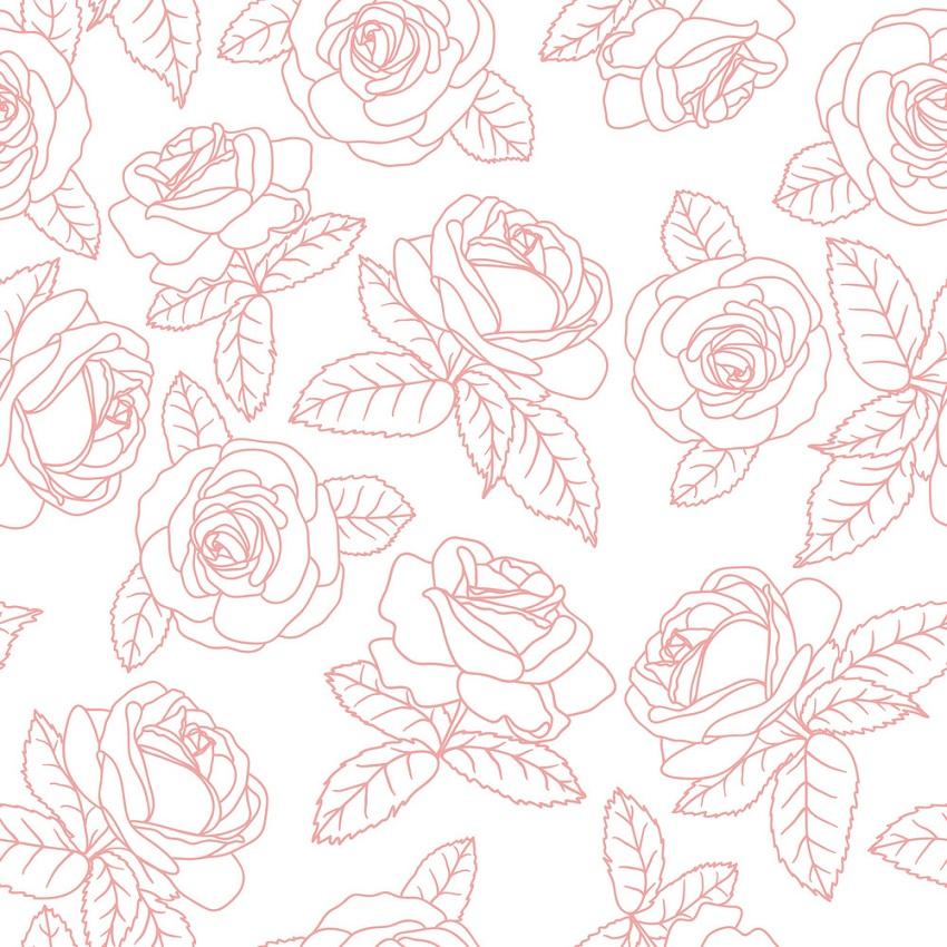 pink roses outline