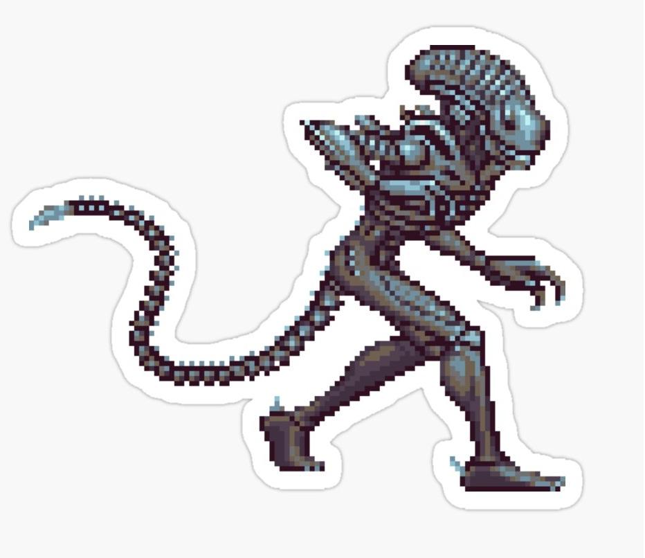 pixel alien sticker