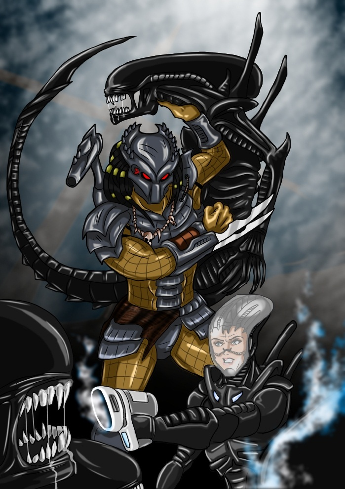 predator and human fighting with aliens