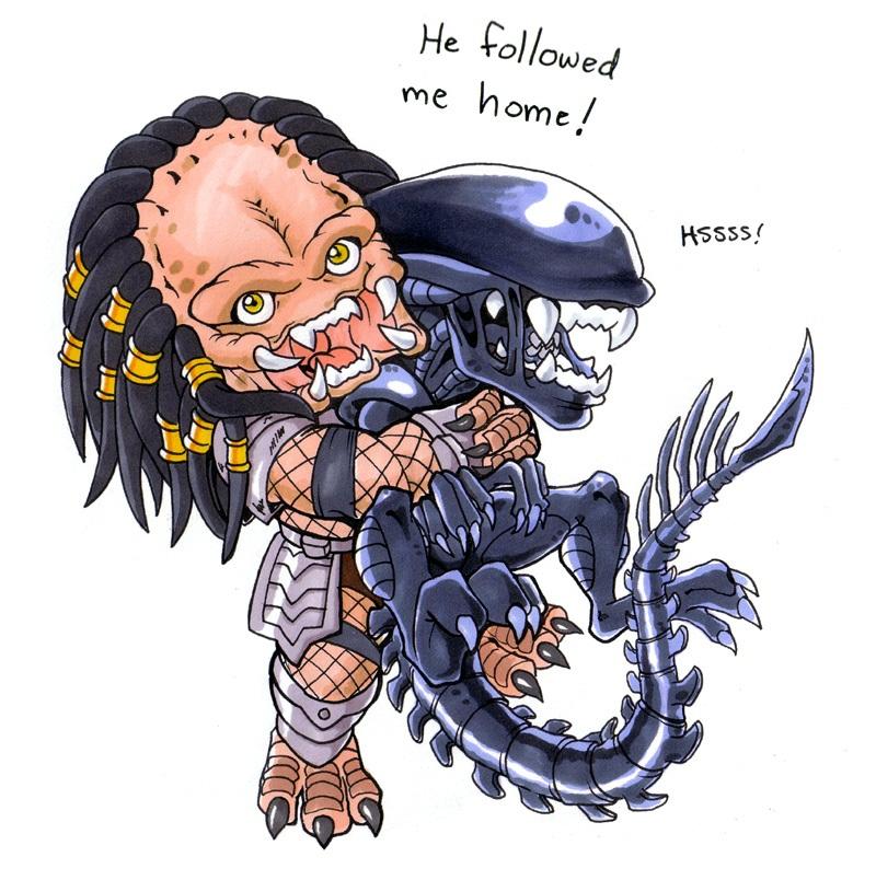 predator hugs alien