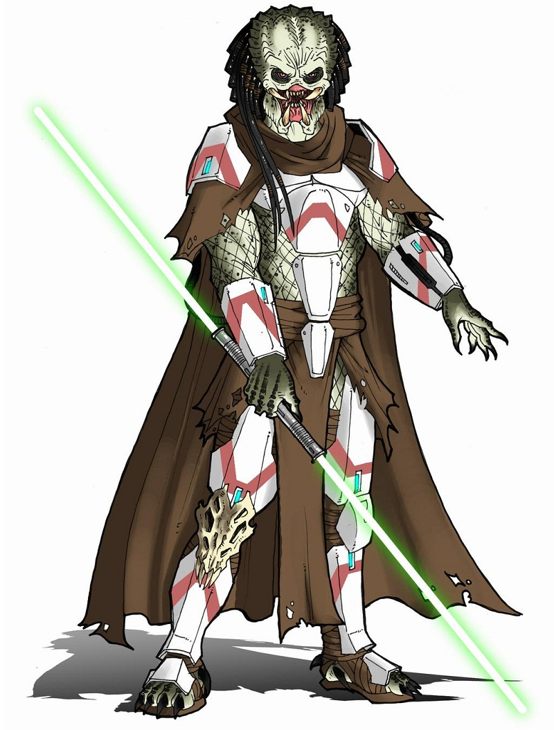 predator with light saber