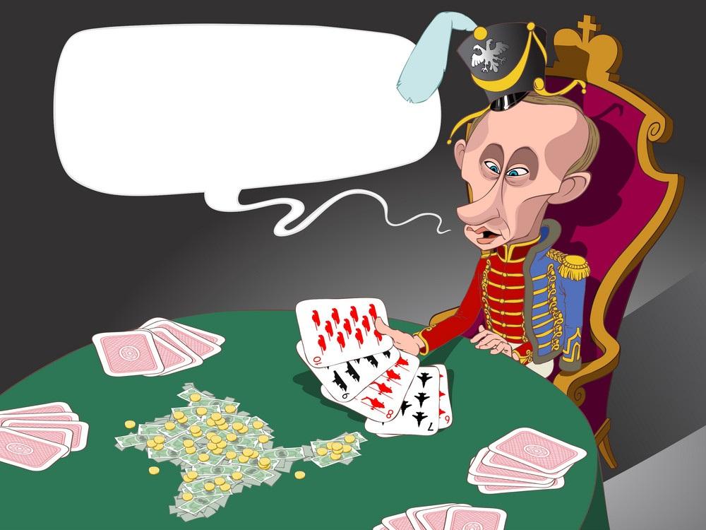 putin with cards