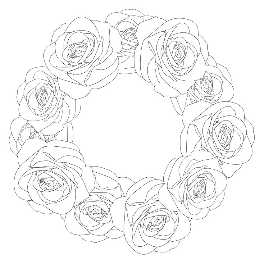 roses wreath outline